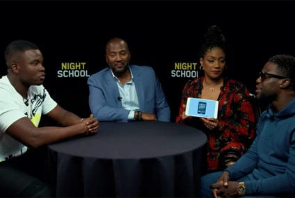 Michael Dapaah holds slang challenge with Night School stars Kevin Hart and Tiffany Haddish