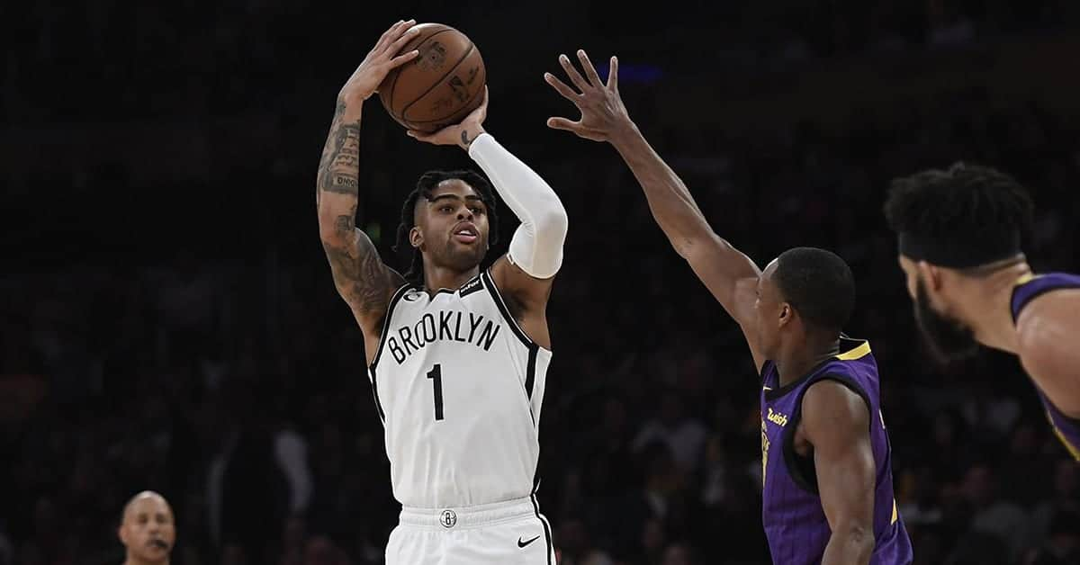 D'Angelo Russell taking a shot for the Brooklyn Nets against the Los Angeles Lakers