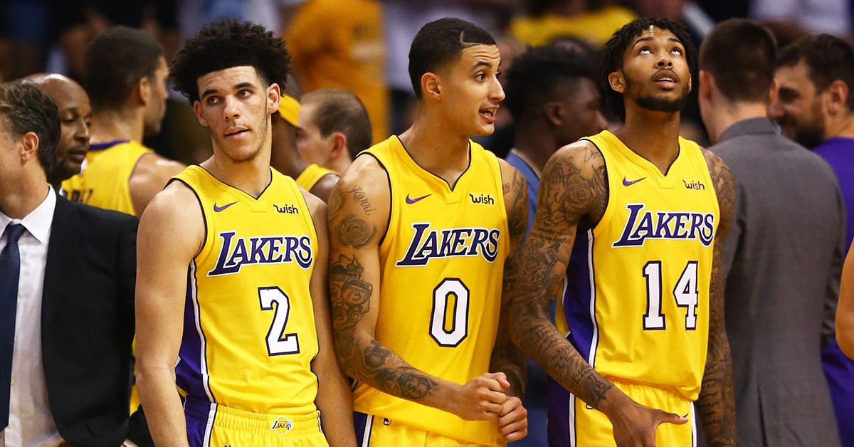 Lonzo Ball, Kyle Kuzma and Brandon Ingram for the Los Angeles Lakers